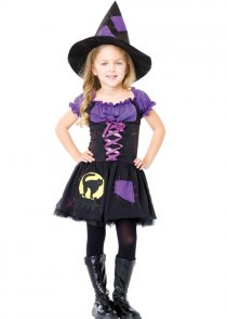 Kids Halloween Black Cat Witch Costume