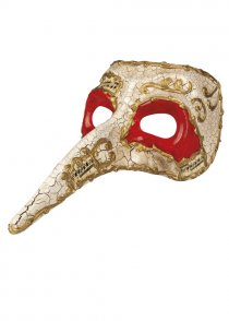 Mens White and Red Venice Masquerade Eye Mask