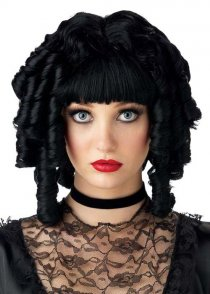 Ladies Gothic Black Curly Ghost Doll Wig