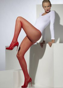 Adult Size Ladies Bright Red Fishnet Tights