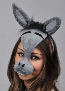 Grey Donkey Mask on Head Band