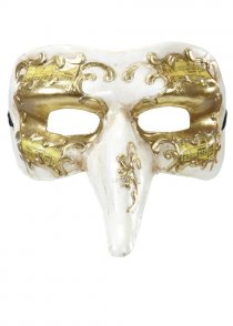 Mens White and Gold Masked Ball Eyemask