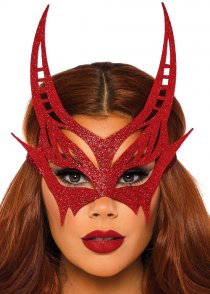 Womens Red Glitter Devil Eyemask