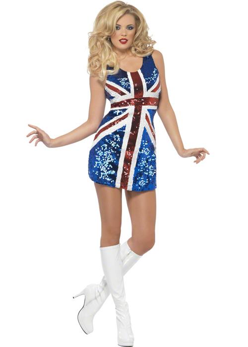 Ginger Spice Fancy Dress Union Jack Dress  Ginger Spice British Dress
