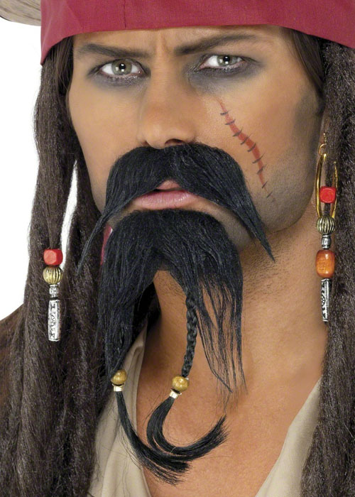 Black Pirate Wig Beads Jack Sparrow Caribbean Adults Mens Fancy Dress Accessory