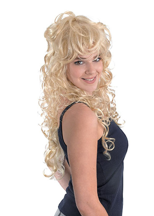 Ladies Long Blonde Curly 80 S Rock Chick Wig Bw656 8 49 Cheap