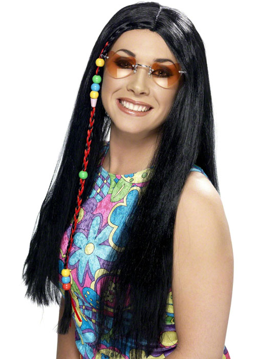 Womens 70 s Black Beaded Hippy Wig  42183  - £7.49 - Cheap Fancy Dress  Outfits fe2eccdf58