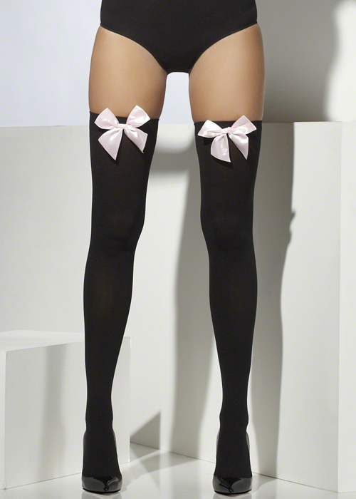 ee9a5060c15e0 Black Thigh High Stockings with Pale Pink Bows [42763] - £4.49 - Cheap Fancy  Dress Outfits, Costumes & Accessories